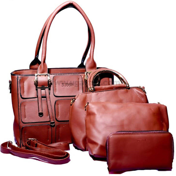 Susen 4Pcs Hand Bag Brown