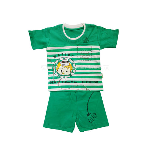 Boy's Clothes Marine Print - Green (0-2 Yr)