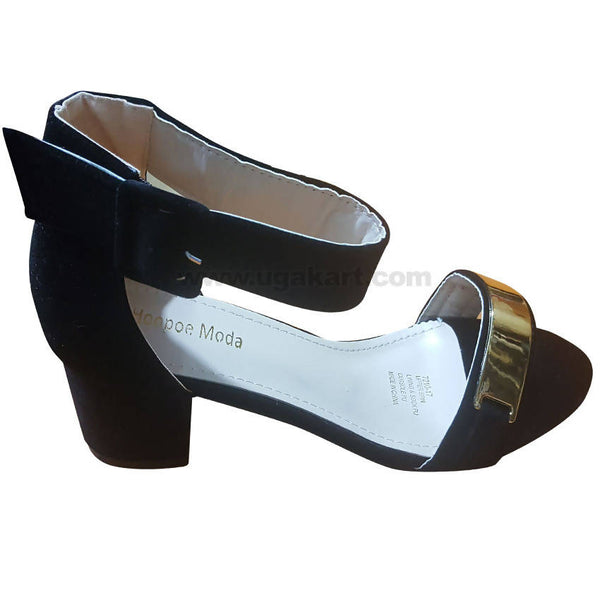 Women's Black & Gold Ankle Strap Heel Shoes