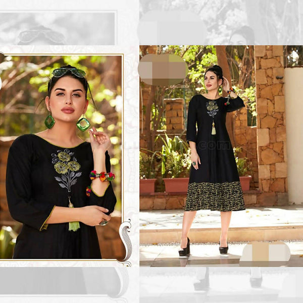 Reyon Soft Cotton Top Black With Green_XXL(40-42)