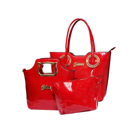 3-In-1 Yuess Handbag With Golden Metal - Red