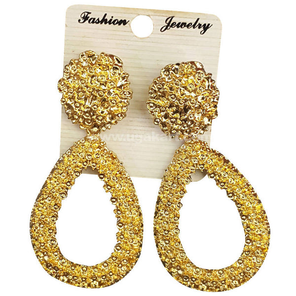 Fashion Jewelry Golden Oval Shaped Earrings