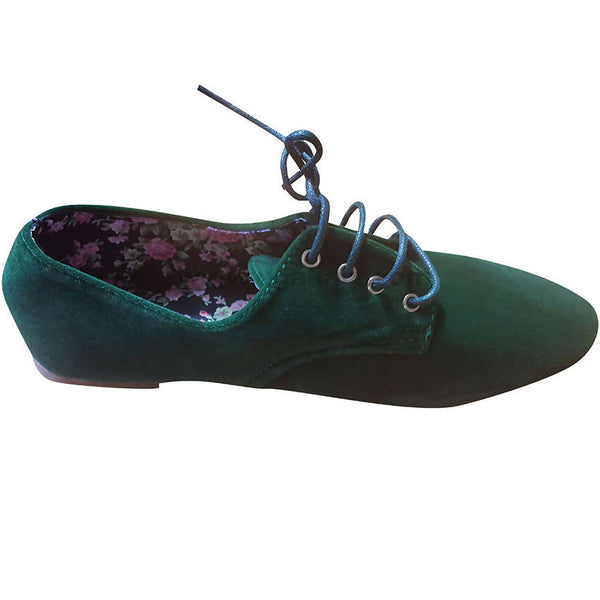 Women's Green Lace Up Suede Flat Sole Shoes