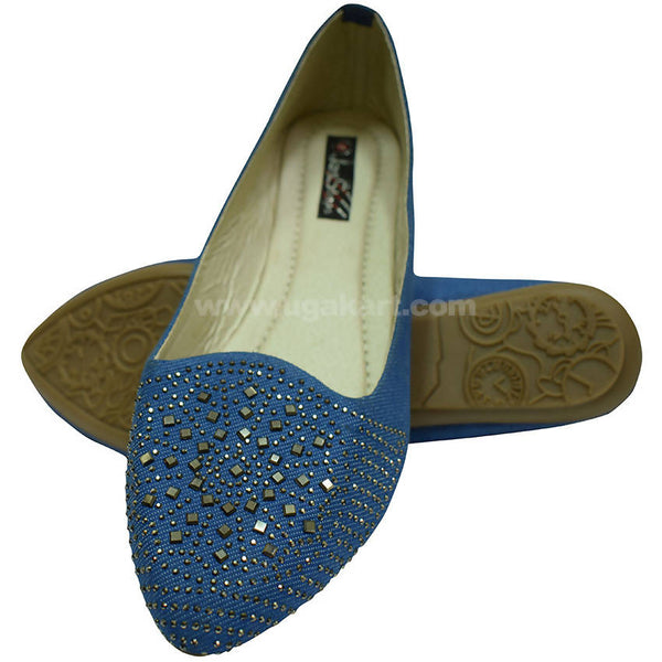 Blue Ballet Flat Shoe With Stone