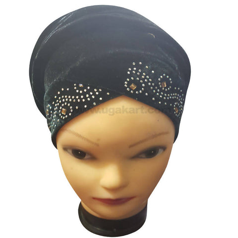 Hijab Black and CJ Stones Cap Style