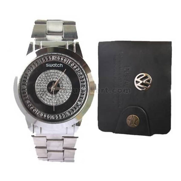 Men's Swatch Watch and Dds Aulo Wallet - Black