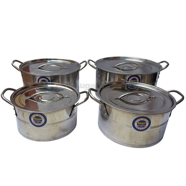 Stainless Steel Shallow Stock Pot Set (1 x 4 Pcs)
