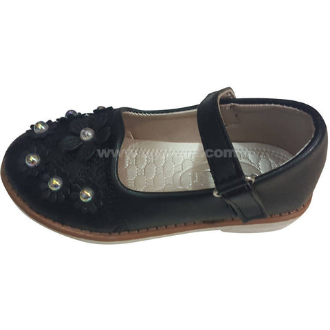 Black Flower Design Girls Shoes (Size-24 to 30)