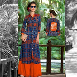 Long Kurti in Blue And Orange Design - Size XXL