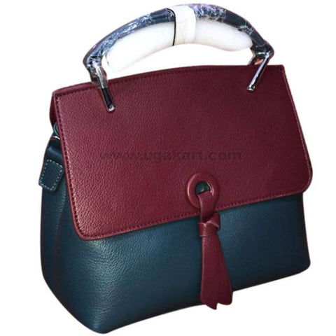 Maroon & Navy Green Ladies Leather Hand Bag