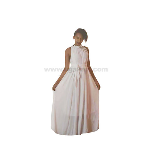 Sleeveless Cream & Mahroon Colour Long Dresses-Size Free