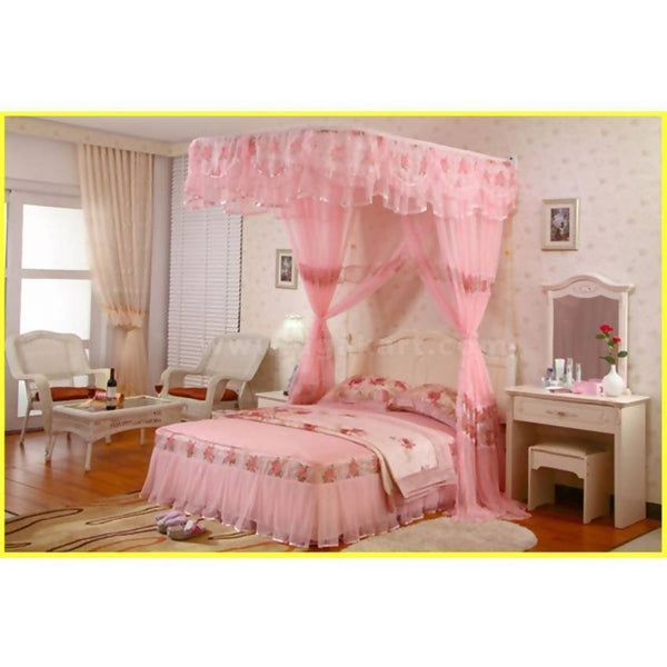 Two Stand Railed Mosquito Net - Pink