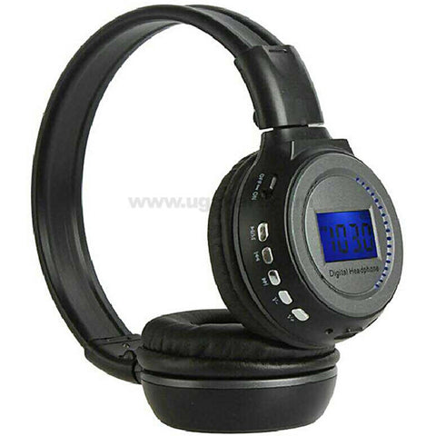Black Digital Mp3 Headphones with Inbuilt FM Radio