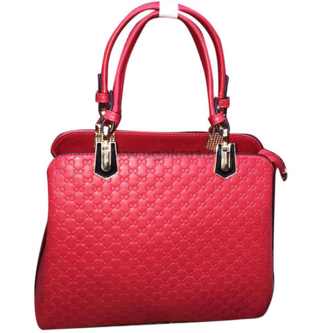 Textured Design Ladies Red Hand Bag