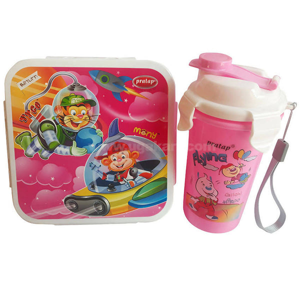 Pratap Pink Lunch Box With Water Bottle