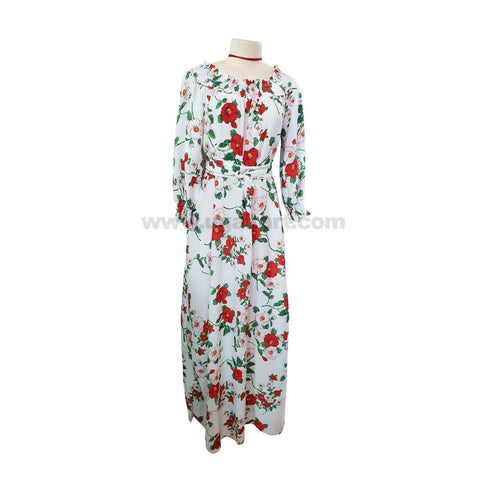 White and Floral Design Free Wear Long Dresses-White,Neviblue,Black-Free Size