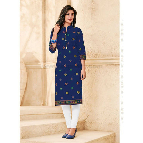 Blue and White Cotton Print Kurti-Size : XXL