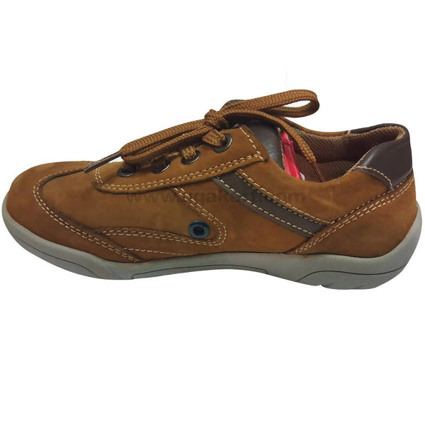 Brown and Brown Leather Shoes With Laces For Kids