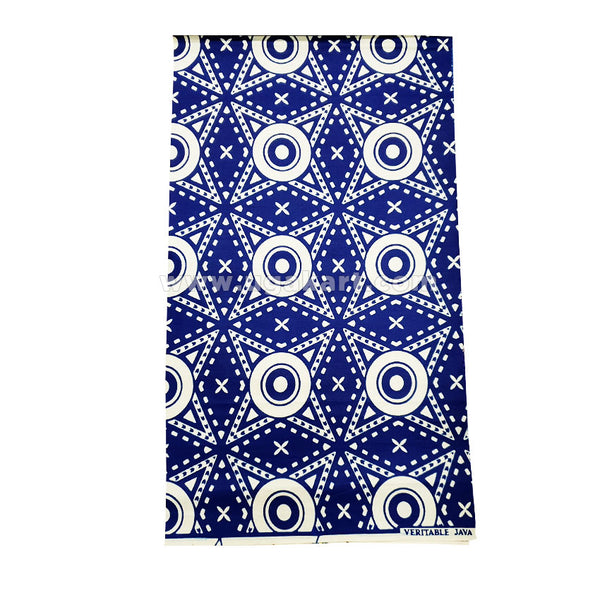 blue and cream with star print gomesi material 6 yards
