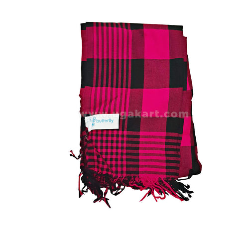 Black And Pink Checked Shawl