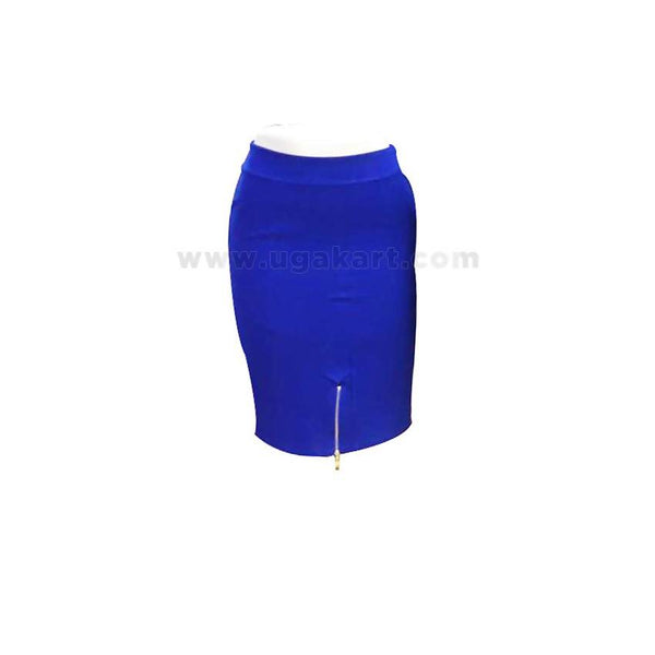 Ladies Tight Skirt With Zip - Blue