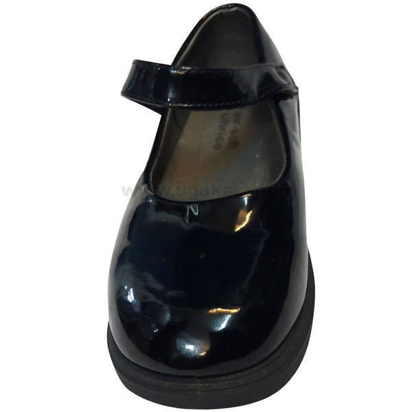 Jet Black Leather School Shooes For Girls