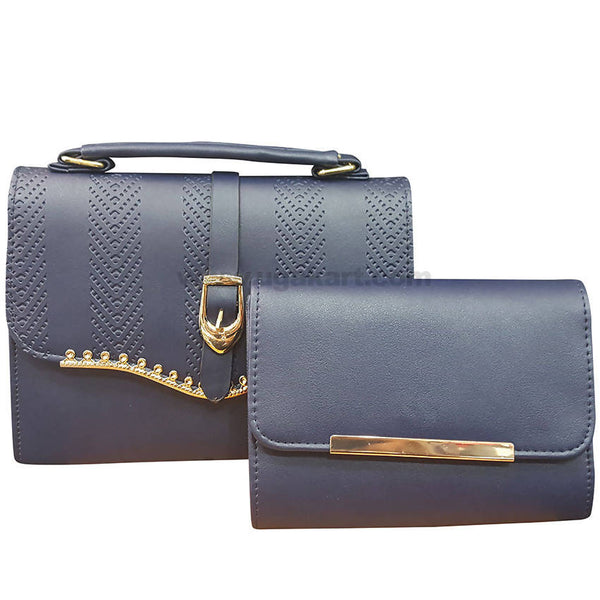 Set of Two Navy Blue Ladies Hand Bag with Wallet