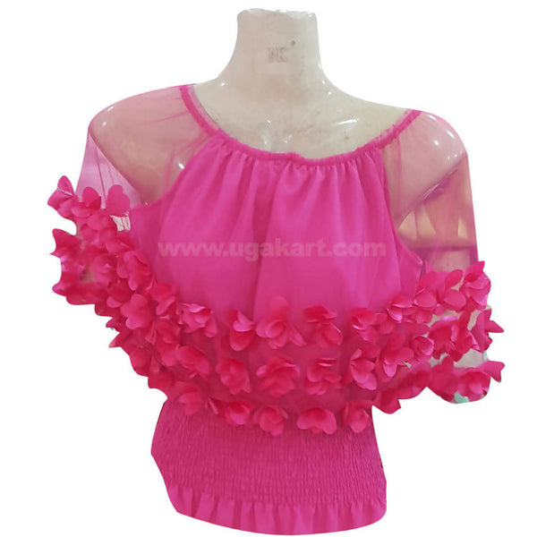 Women's Pink Sheer Mesh Shoulder Flower Applique Top
