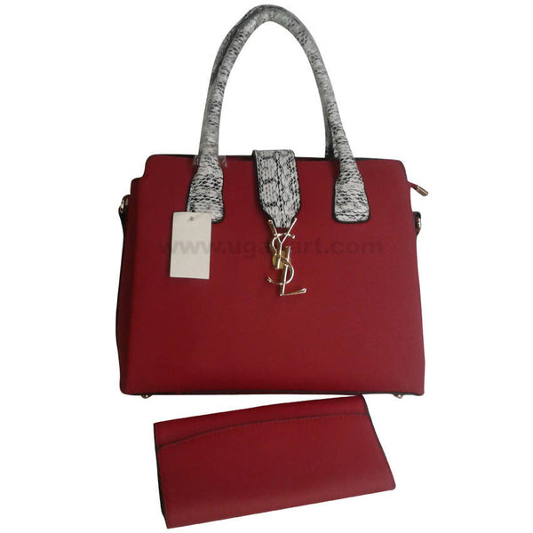 YSL Maroon With Grey Handle Hand Bag Set of 2
