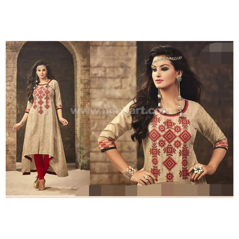 Thick Khaki Material Front Side Short Behind Long Style Kurti with Red Legging - Size 2XL