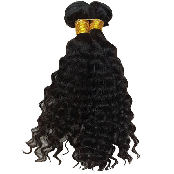 Human Hair Weave Curly_2Pc_Black