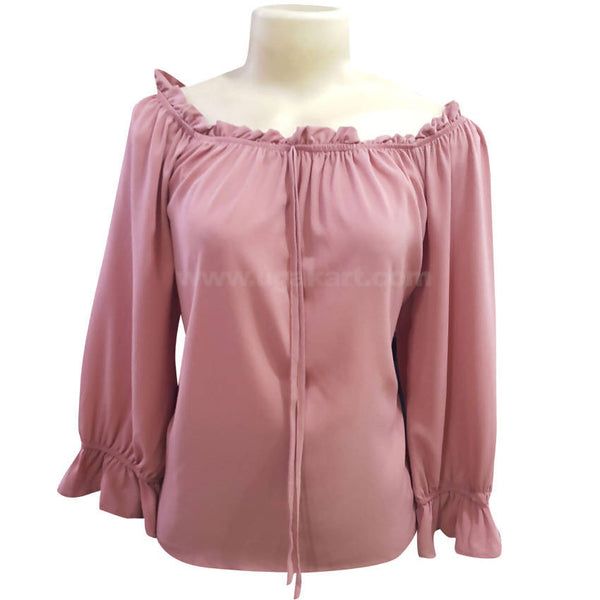 Women's Elegant Pink Workwear Blouse Top_Free Size