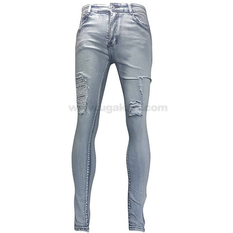 Sky Blue Destroyed Jeans For Women_28 to 34
