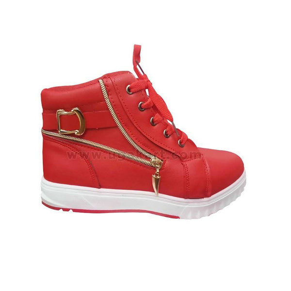 Red Girls Shoes With Golden Zip