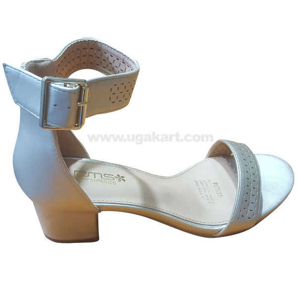 Women's Light Grey Ankle Strap Heel Shoes