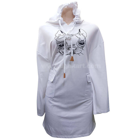 White long Dress With Hoodie For Women (Free Size)