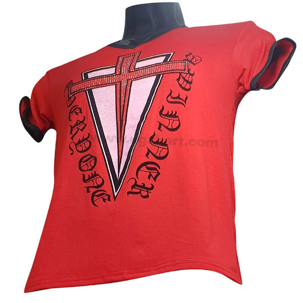 Red and Cross Printed T Shirt