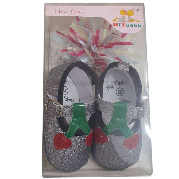 Silver Shinny Baby shoes & HeadWarp for New Born