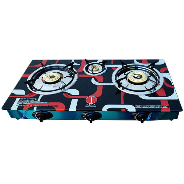 IQRA GAS Stove_Glass Material_3 Burners_IQ-GS3B-G