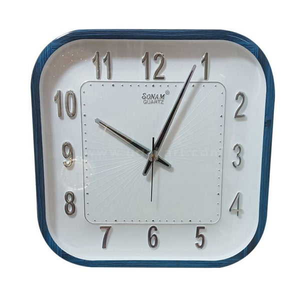 Sonam White And Blue Square Wall Clock