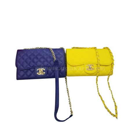 2 Piece Chained Ladies Cross Bags - Blue and Yellow