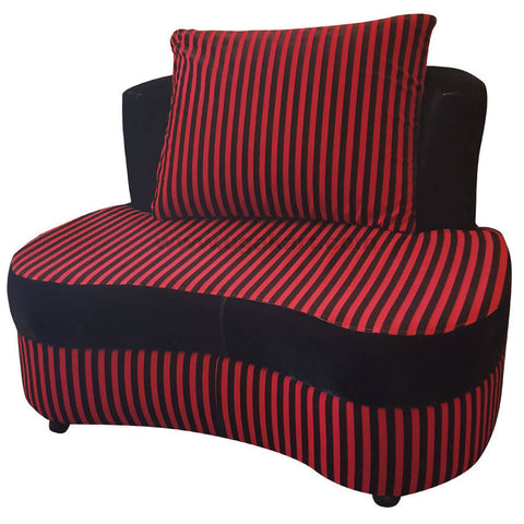 Red and black Single Seater Sofa