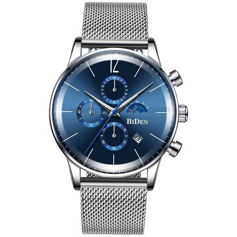 BIDEN Chronograph Blue Rounded Dial Mens Watch