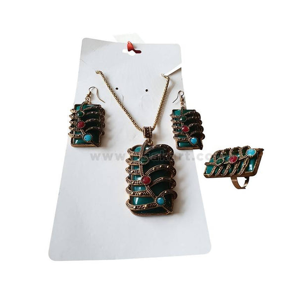 Antic Style Necklace & Earings + Ring - Green Golden