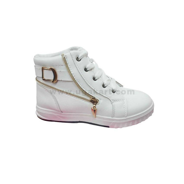 White Girls Shoes With Golden Zip