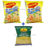 Maggi Masala 70 Gms (2 Packets) + Haldiram's Moong Dal 150Gm (1 Packet)