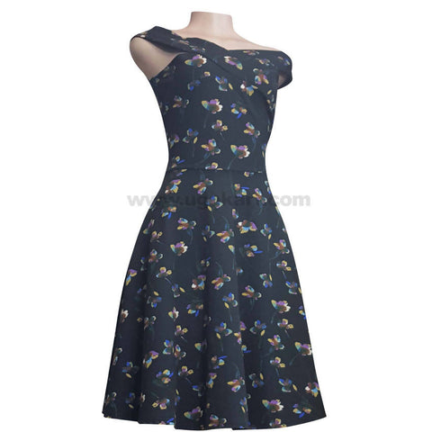 Black and Multi Colour Floral Dress For Women