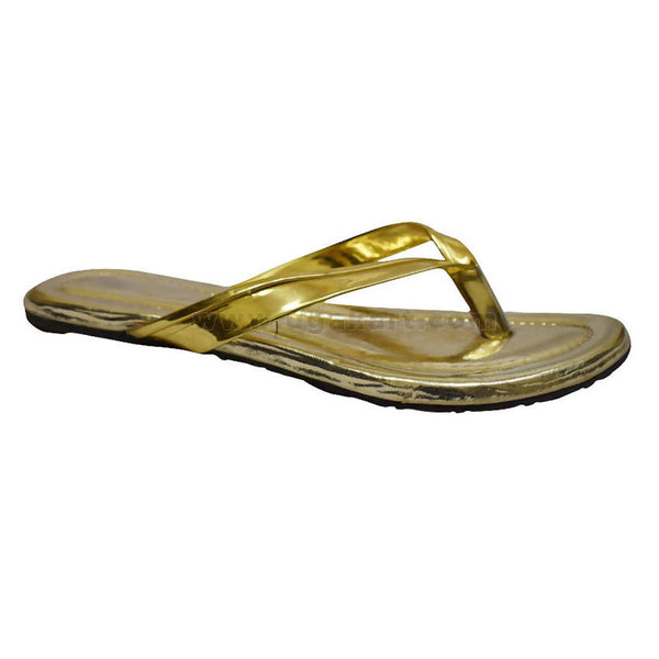 Faux Golden Flip Flops Sandal For Women's