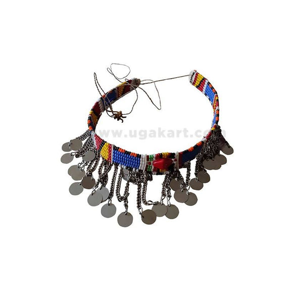 Handmade Beaded Necklace silver coins - Multi-colored
