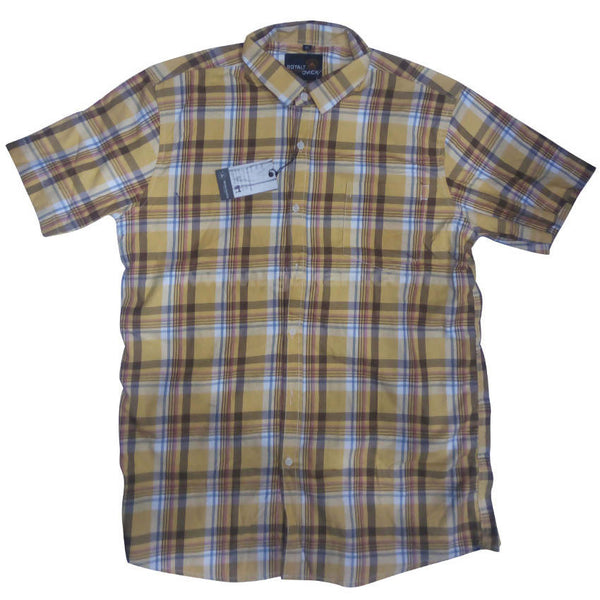 Dull Yellow Regular Fit Check Half Sleeve Shirt For Men